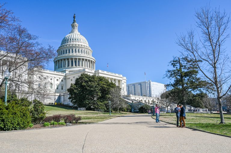 WASHINGTON DC, USA - March 27, 2019: United States Capitol and Capitol Hill viewed from the National Mall. The Capitol building is the home of US Congress.